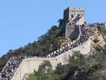 туристы, Китай, отдых, Великая китайская стена