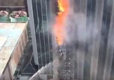 пожар, небоскреб, Китай