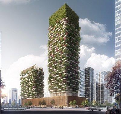 вертикальный лес, здание,