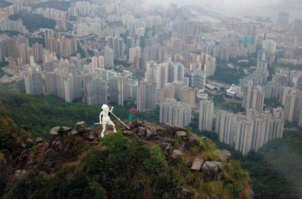 статуя, Гонконг, протестующие,
