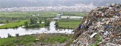 мусор, горы, Китай, экология
