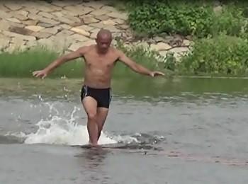 вода, бег, монах, Китай