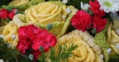 капустная роза, необычный подарок,